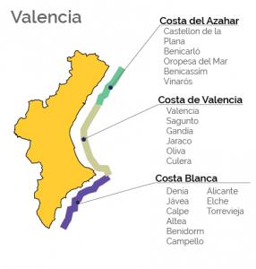 Valencia, Costa Blanca, Costa de Valencia, Costa del Azahar